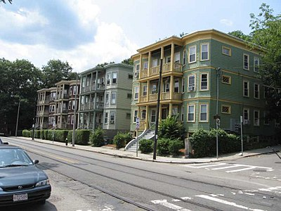 Three deckers in Boston's Jamaica Plain neighborhoo d.