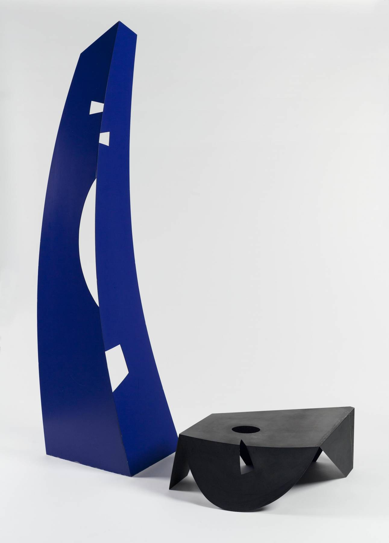 """""""Black and Blue, '' by isamu Noguchi, in the show  """" Isamu Noguchi and the Borders of Sculpture,'' at the Portland Museum of Art, Oct. 5-Jan. 6.    The museum says the show:    """"{I}nvestigates Noguchi's expansive artistic practice by exploring his efforts to enlarge and challenge conventional notions of sculptural boundaries. Born in 1904, the Japanese-American modernist experimented endlessly with the intersection of objects, people, and space over the course of his 60-year career. Melding ideas and approaches to art from across the globe, Noguchi created traditional sculpture, landscape architecture, play structures, monuments, stage sets, interior designs, furniture, and more. This exhibition brings aspects of his varied production together, complicating notions of form and function and using the juxtaposition of materials, shapes, and techniques to encourage audiences to reimagine their sense of what sculpture can be.''"""