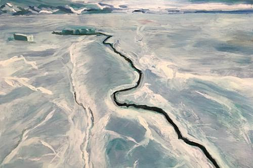 """""""Developing Crack'' (oil on Russian birch), by Holly S. Murray, in her show """"Ice to Water,'' Sept. 16 to Oct. 11, at the Hampden Gallery, at the University of Massachusetts at Amherst. Her paintings depict the vast polar ice forms that are turning to water as global warming accelerates."""