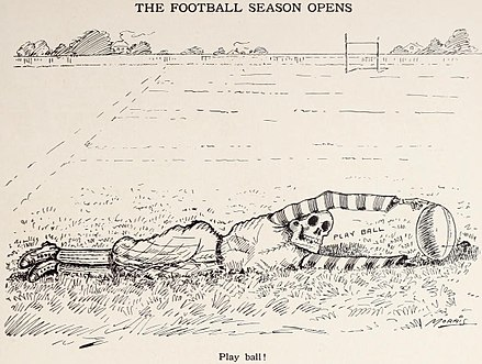1908 cartoon, by  W.C. Morris ,  highlighting the dangers  associated with the football.