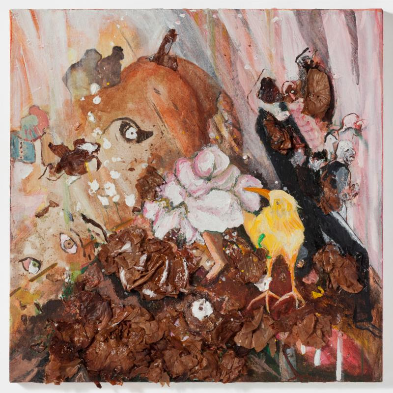 """""""Chicken Little"""" (onion skins and dye with acrylic paint on stretched canvas), by Nouritza Odabashian, in the show """"Resiliency and Resistance,'' at Galatea Fine Art, Boston,Sept. 5-Sept. 30."""