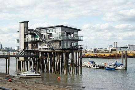 Part of the Greenwich Yacht Club at low tide. Greeenwich is famous as the home of many very rich people, many with connections to Wall Street.