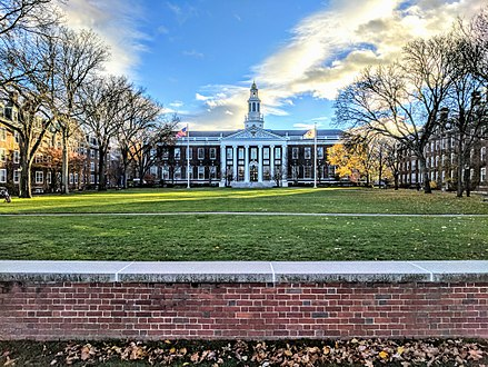The Baker Library at the Harvard Business School, which is across the Charles River from Harvard's main campus.
