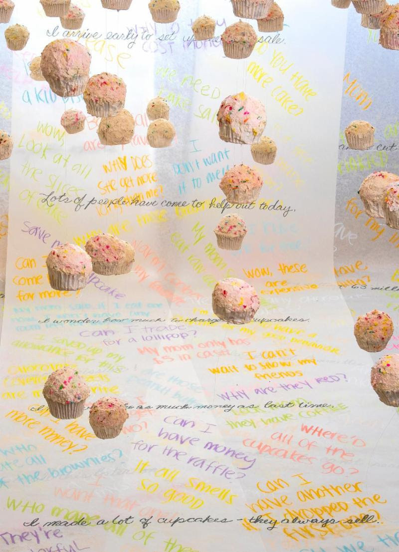 """""""Diary of a Bake Sale Diva'' ( mixed media installation), by Ronni Komarow, in her show """"Tender Mercies,'' at Galatea Fine Art, Boston, Oct. 3-28."""