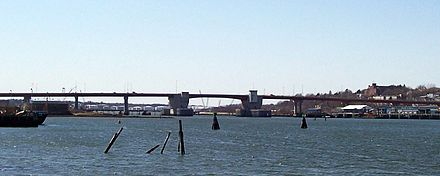The Casco Bay Bridge (which the poet refers to below), which links Portland and South Portland.