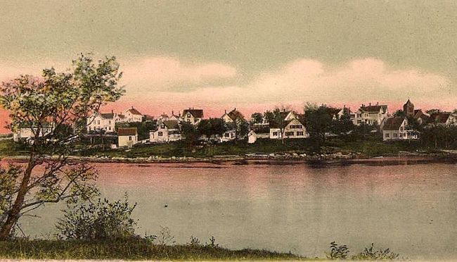 Colorized photo of the East Side of Vinalhaven in 1905.