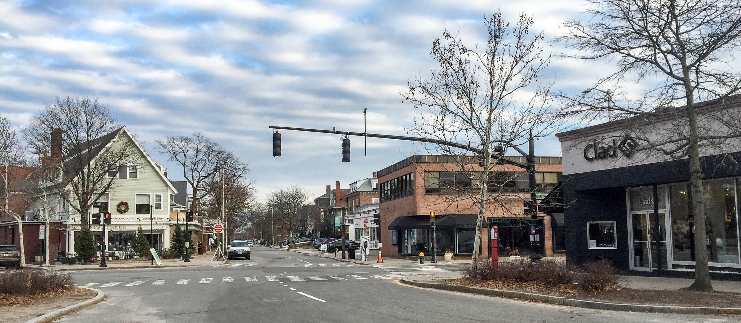 Wayland Square, an neighborhood with many small businesses, in Providence.