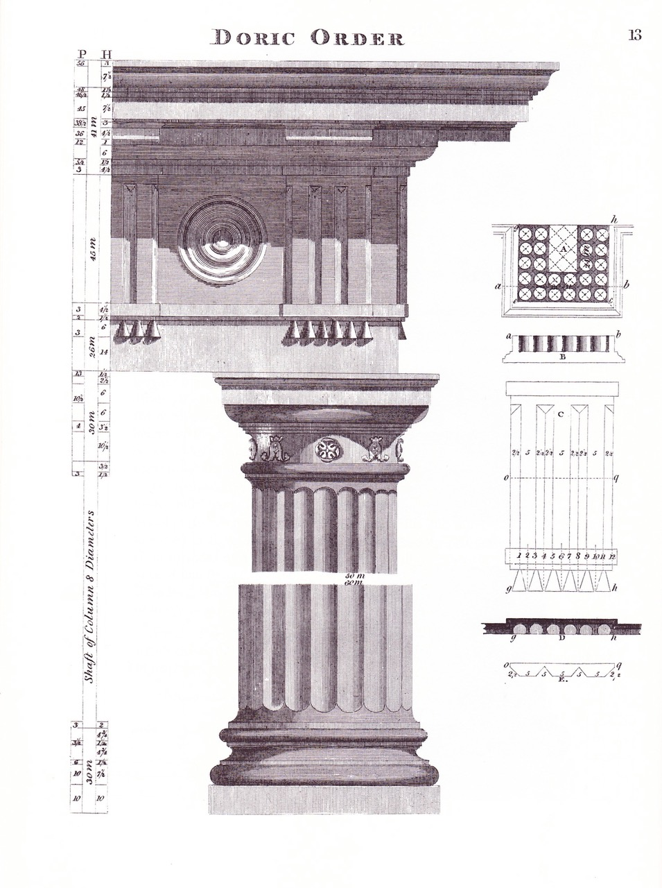 Plate showing the Doric order from  The American Builder's Companion.   Benjamin's Greek orders were clearly 'borrowed' from earlier European books on the    subject. The Doric was the simplest order and thus the easiest for rural carpenter architects to fashion, especially in wood.
