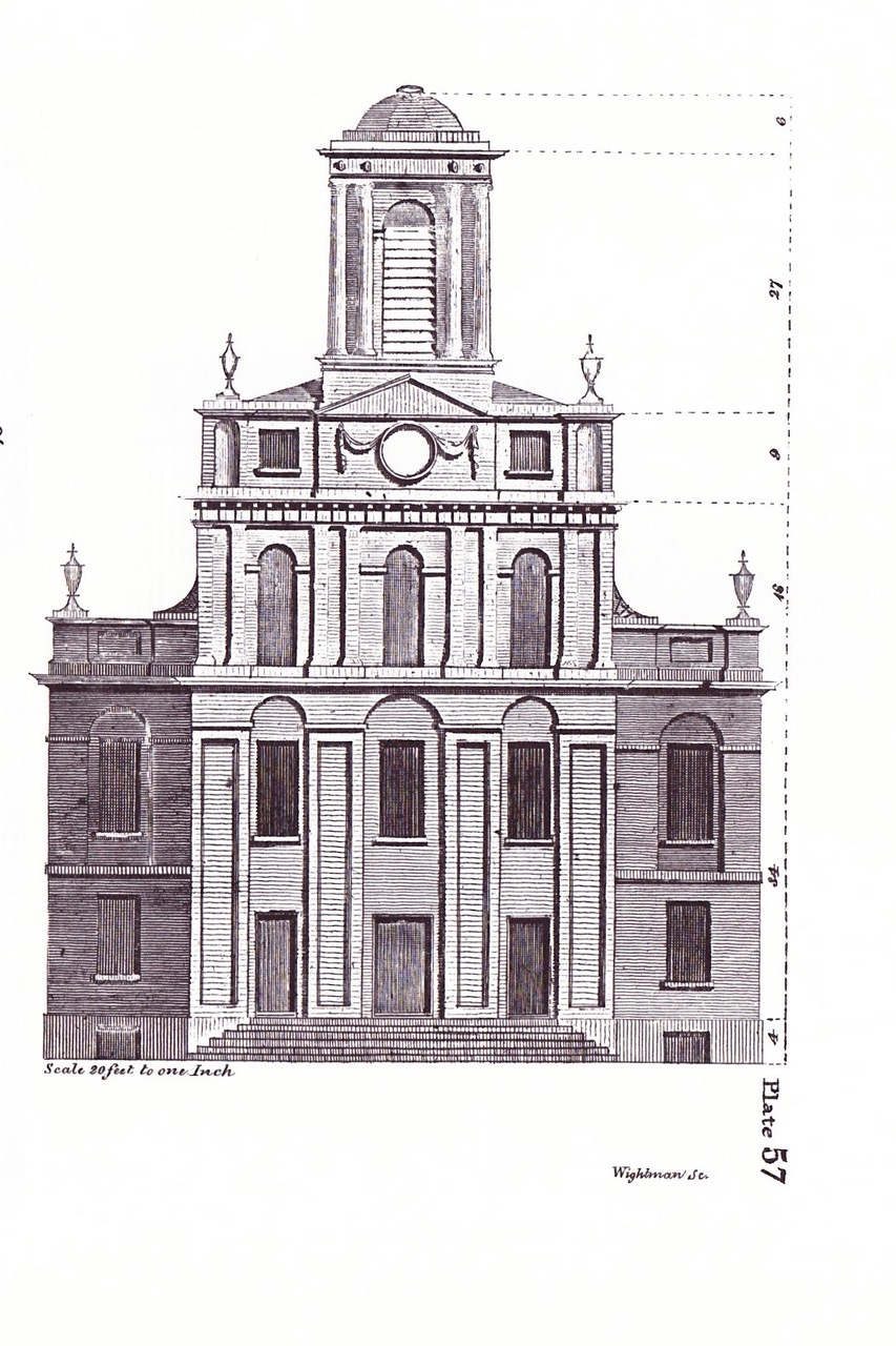 Asher Benjamin's West Meeting House, Boston. The church is in late Georgia, of Federal, style. This is the likely source for the Sedgwick cupola .