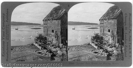 Maine lobster traps ready to be taken on board in 1928.