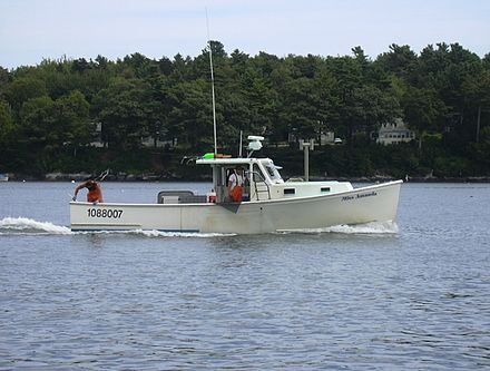 Lobster boat off Portland, Maine.