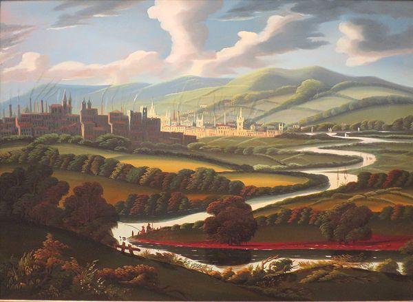 """""""View of Springfield, Massachusetts, on the Connecticut River'' (oil on canvas), circa 1840-45, by Thomas Chambers, as seen at the Springfield Metropolitan Museum of Art. ."""
