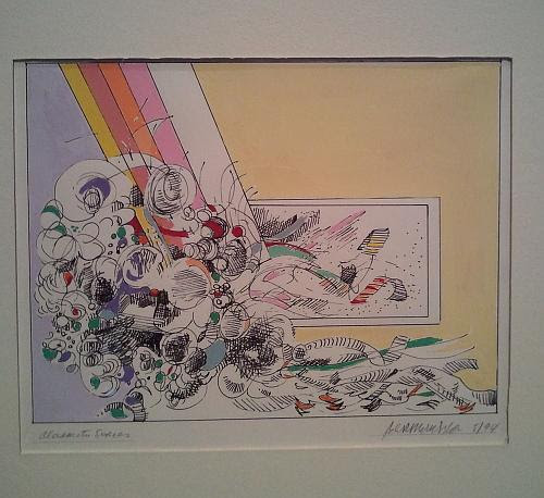 """From """"Alexameta Series'' (pen and gouache), by the famous surrealist painter Ben Katz (1934-2012), in his joint show with sculptor R.L. Stetson entitled """"Lost & Found — Reclamation and Celebration,'' at DeBlois Gallery, Middletown, R.I."""