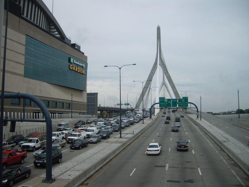 Stay on the right! Near the Zakim Bridge, in Boston.