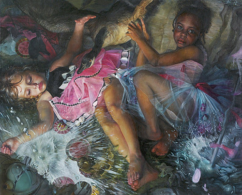 """""""The Tea Party'' (oil on linen), from the series """"Babes the Woods,'' by Margaret Bowland, in her show """"It Ain't Necessarily So,'' at the de Menil Gallery, at the Groton School, Groton, Mass., through Nov. 9. The gallery says that Ms. Bowland    """"   creates realistic, detailed portraits of costumed or made-up women and girls. Bowland demonstrates how much women must change themselves in order to be conventionally attractive and appeal to others. At the same time, women try to express themselves through the makeup and costumes.''    The Groton School (see picture below), founded in 1884 and in an affluent Boston exurb, was the alma matter of some famous people, most notably Franklin D. Roosevelt, and a symbol of New York-New England WASP """"old money'' families. Louis Auchincloss's most famous novel,  The Rector of Justin,  is roughly based on Groton, which is affiliated with the Episcopal Church (natch!), and its formidable founding headmaster, The Rev. Endicott Peabody. Auchincloss graduated from Groton in 1935 and died in 2010.    Groton is also known for its beautiful old houses and its apple orchards."""