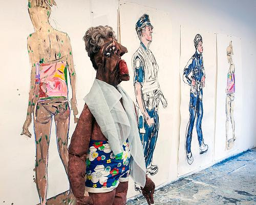 """""""Police Drawings'' (mixed media,    life-size and variable dimensions), by Mira Cantor, in her show """"Promiseland,'' at Kingston Gallery, Boston, through Dec. 2."""