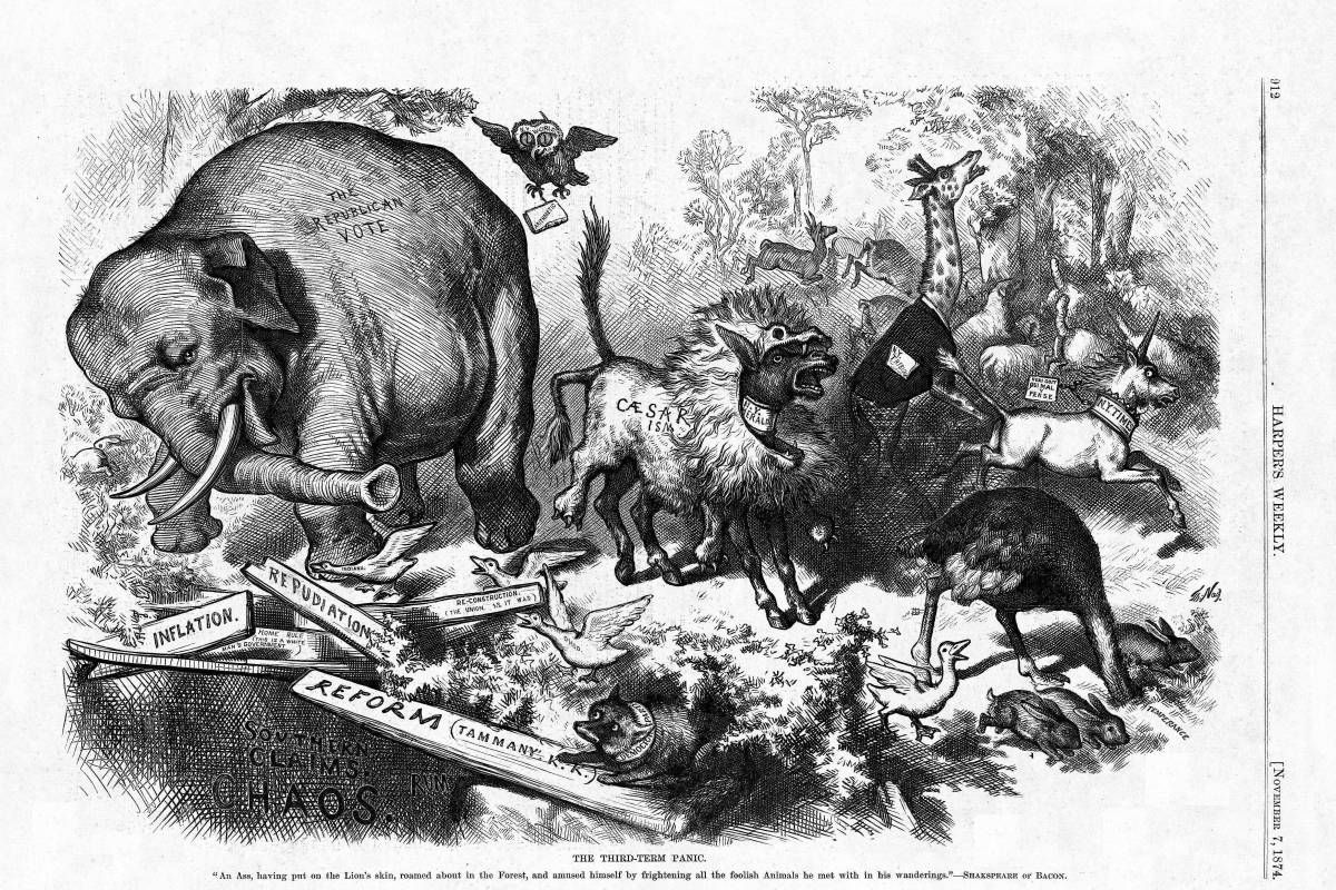 This 1874 cartoon by Thomas Nast is considered the first important portrayal of the Republican elephant.