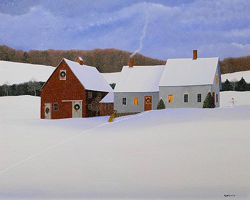 """""""Christmas Snow'' (oil on panel), by Marieluise Hutchinson, in the """"Holiday Small Works 2018"""" show at the Copley Society of Art, Boston ."""