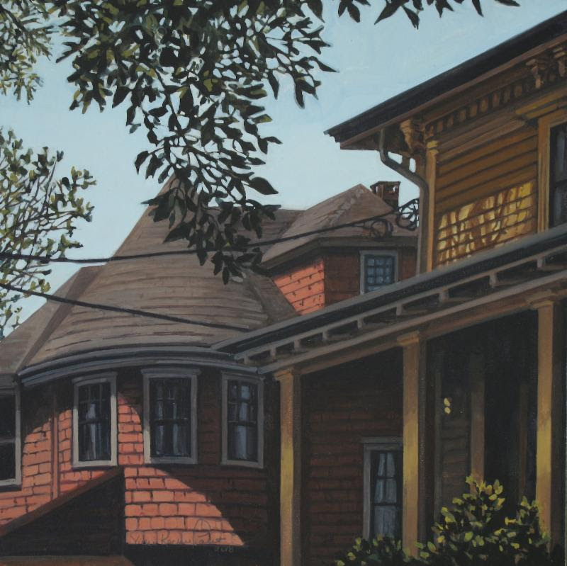 """Neighborhood #12''   (gouache on cradled panel), by Vicki Kocher Paret, in the group show ""Galatea NOW,'' at Galatea Fine Art, Boston, Dec. 5-30"