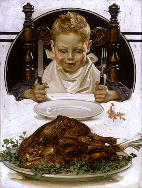 ''Ready for Thanksgiving Feast'' by J.C. Leyendecker, Original painting for cover of The Saturday Evening Post magazine, November 1919. With permission of the National Museum of American Illustration, Newport, R.I.