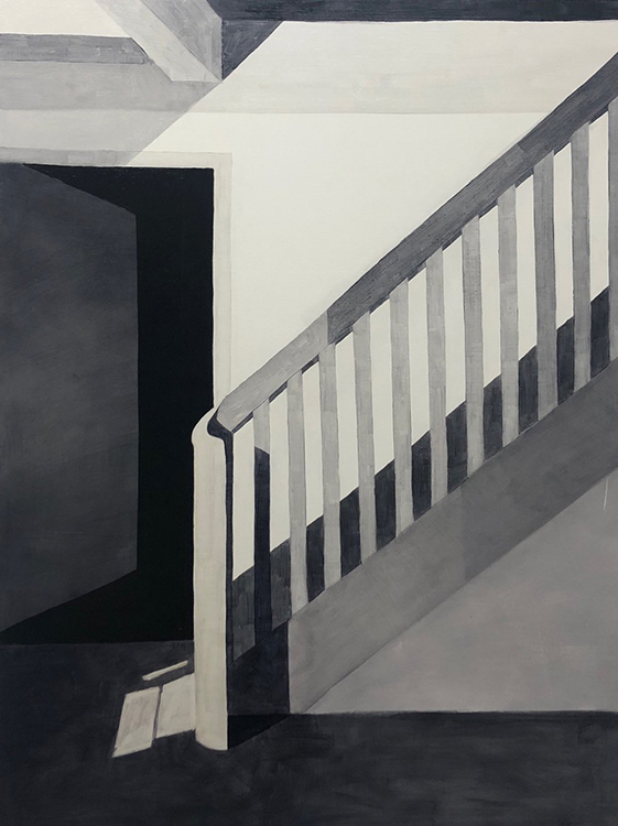 """""""Ascending'' (oil on panel), by Samantha Morris, at Fountain Street galleries, Boston, through Nov. 25 in her joint show with Marcia Wise (some of whose work can be seen below.)"""