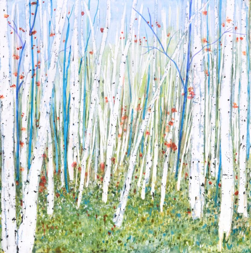 """""""{While} Walkin' the Dog'' (watercolor and acrylic on braced birch panel), by Tamara Gonda, at Alpers Fine Art, Andover, Mass."""