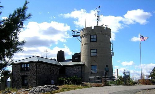 The famous weather station atop Great Blue Hill, south of Boston. Before the wind instrument was disabled by the blow,   a gust of 186 miles an hour was recorded in the Sept. 21, 1938 hurricane.