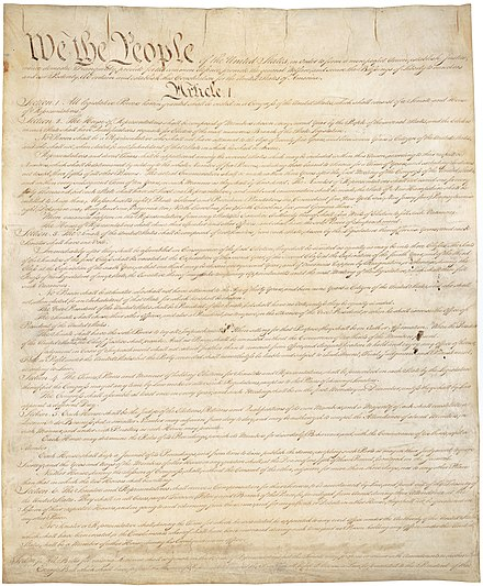 Page one of the original copy of the U.S. Constitution.