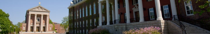 At Holy Cross, Fenwick Lawn, with Commencement Porch of Fenwick Hall in the foreground and the Chapel beyond.