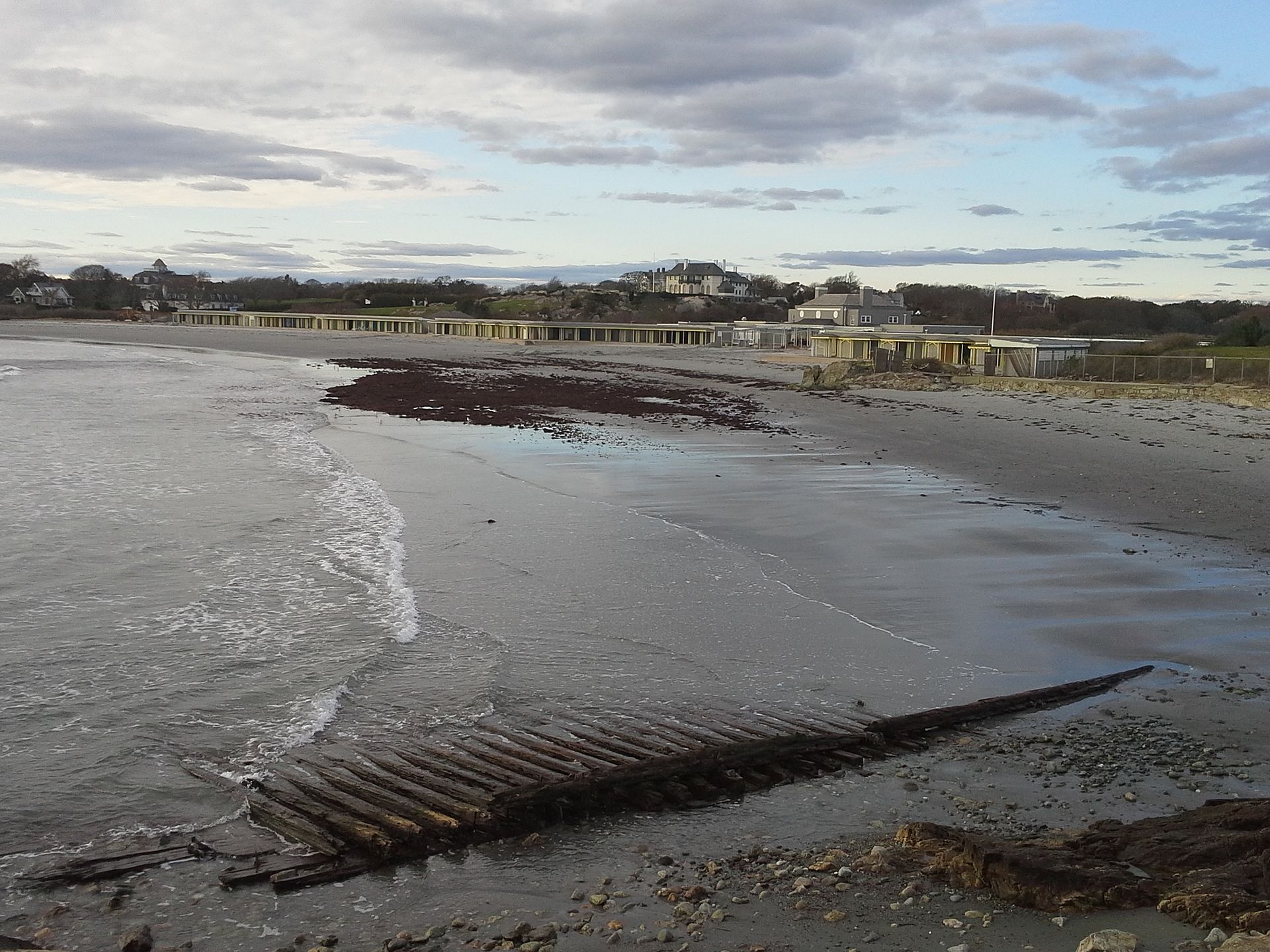 """The mysteriously alluring and exclusive Bailey's Beach (official name Spouting Rock Beach Association), in Newport. """"Rejects' Beach'' is in foreground."""