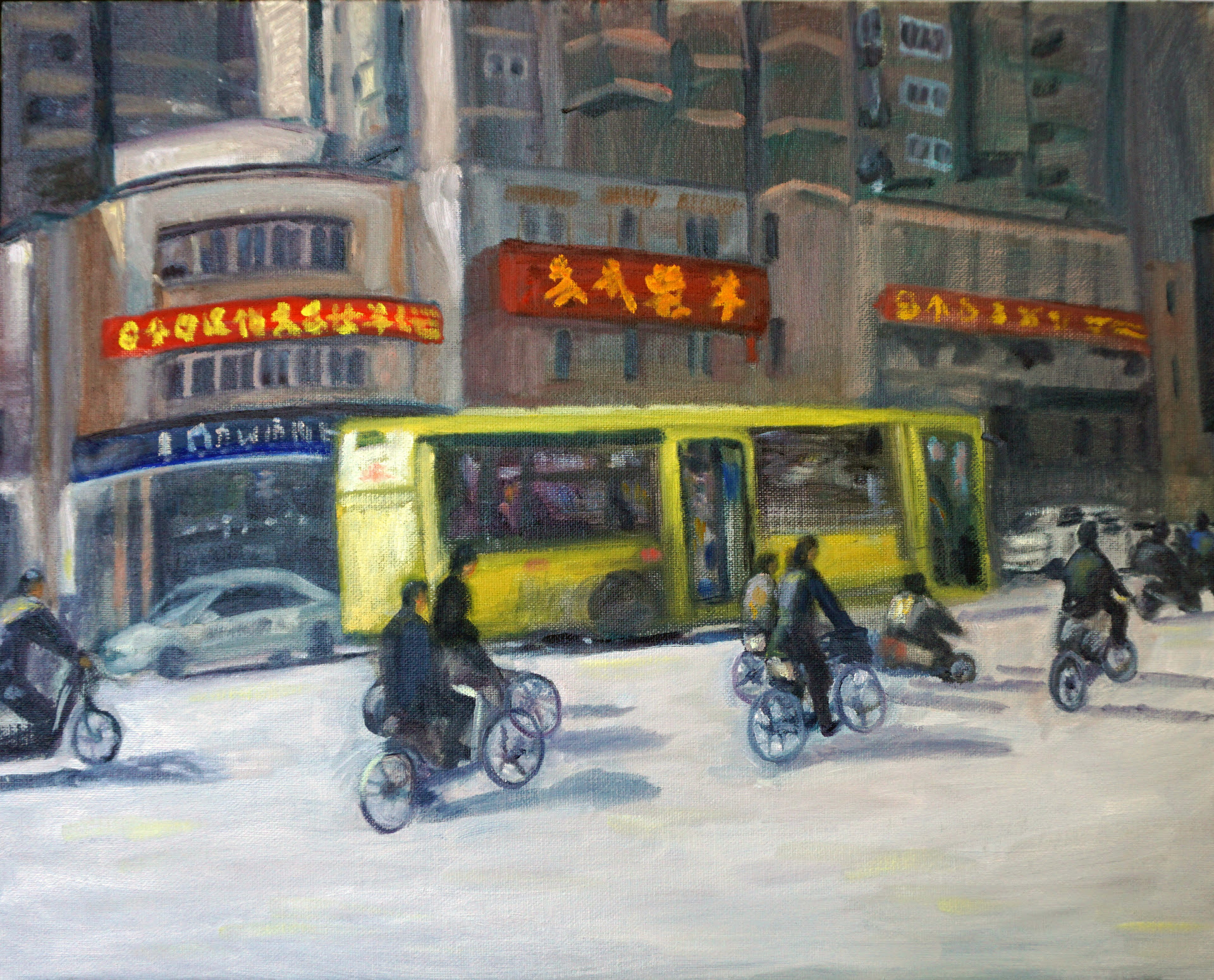 """Morning Commute, Shanghai   (oil on canvas panel), by Ellen Leader, in her show """"Through the Eyes of a Traveler: Paintings by Ellen Leader,'' at New Art Center, Newton, Mass., Jan. 10-Feb. 2 3."""