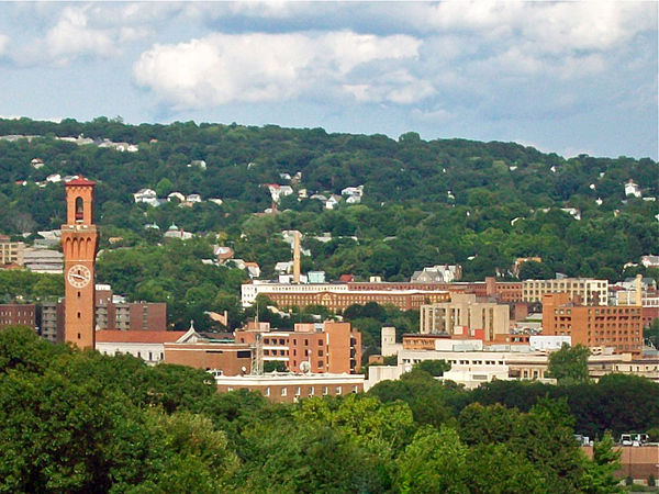 Waterbury from the west, with Union Station clock tower at left.