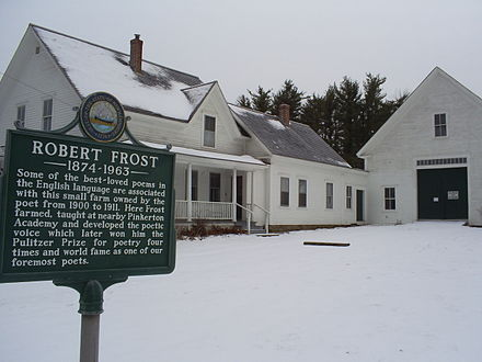 "The  Robert Frost Farm  in  Derry,  N.H., where he wrote many of his poems, including ""Tree at My Window"" and ""Mending Wall."""