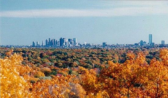 The Boston skyline from Belmont.