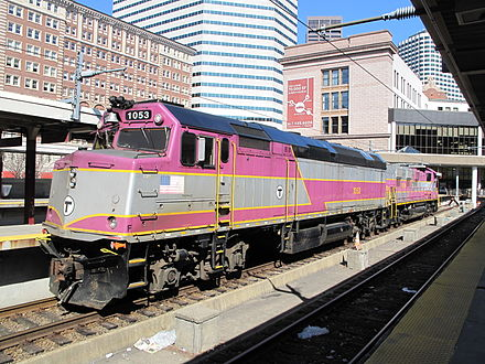 MBTA Commuter Rail locomotive at South Station.
