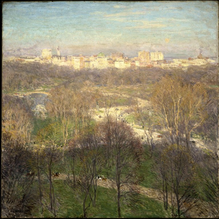 """""""Early Spring Afternoon — Central Park'' (1911), by Willard Leroy Metcalf."""