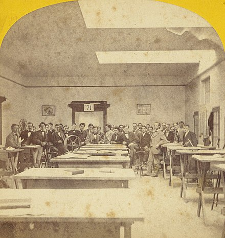 Stereographic card    showing an MIT mechanical drafting studio, 19th ]Century (photo by    E.L. Allen   , left/right inverted).