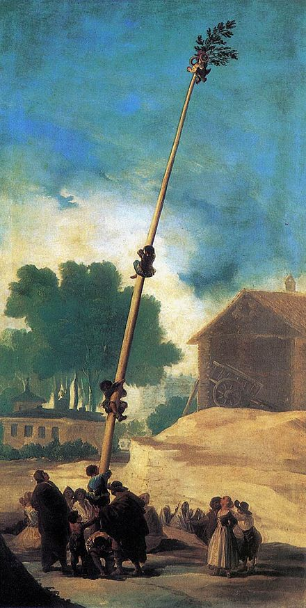 """""""La Cucana'' (greasy pole), by Francisco Goya."""