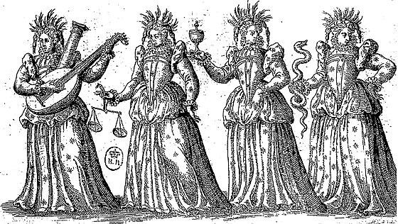 An image personifying the four virtues  (  Ballet Comique de la Reine  ,  1582).
