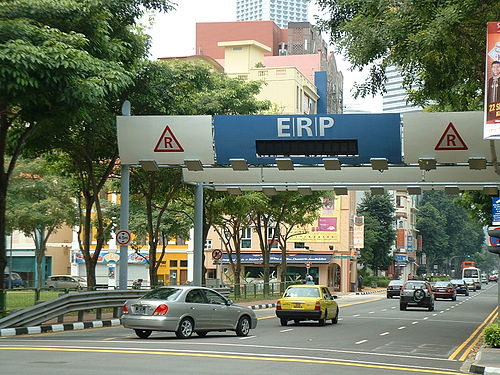 Electronic Road Pricing    gantry in Singapore, the first city in the world to implement an urban cordon area congestion pricing scheme.