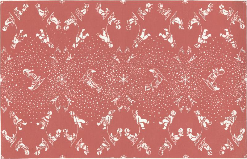 """""""Snow Flurry'' (linoleum block print), by Mary Maletskos (1918-1983), in the Folly Cove Designers Collection, at the Cape Ann Museum, Gloucester, Mass."""
