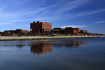 View of part of the UMass Boston campus, which is on Boston Harbor.