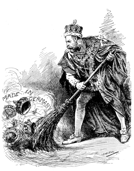 """A Good Riddance"" cartoon from    Punch   , Vol. 152, 27 June 1917, commenting on King George V's order to relinquish all German titles held by members of his family."