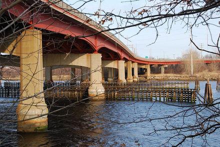 "The Henderson Bridge (aka ""Red Bridge"") over the Seekonk River."