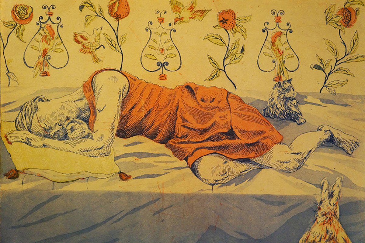 """Insomnia'' (print), by Mei Fung Elizabeth Chan, in the Duxbury (Mass.) Art Association's Winter Juried Show, through April 13 at the Art Complex Museum, Duxbury."