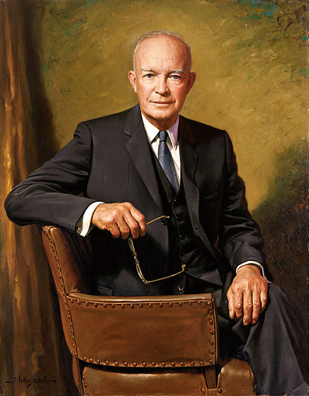 Official portrait of President Dwight D. Eisenhower in the White House.