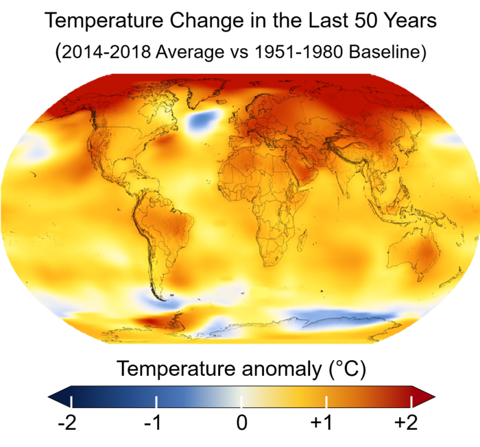 Average global temperatures from 2014 to 2018 compared to a baseline average from 1951 to 1980, according to NASA's    Goddard Institute for Space Studies   .