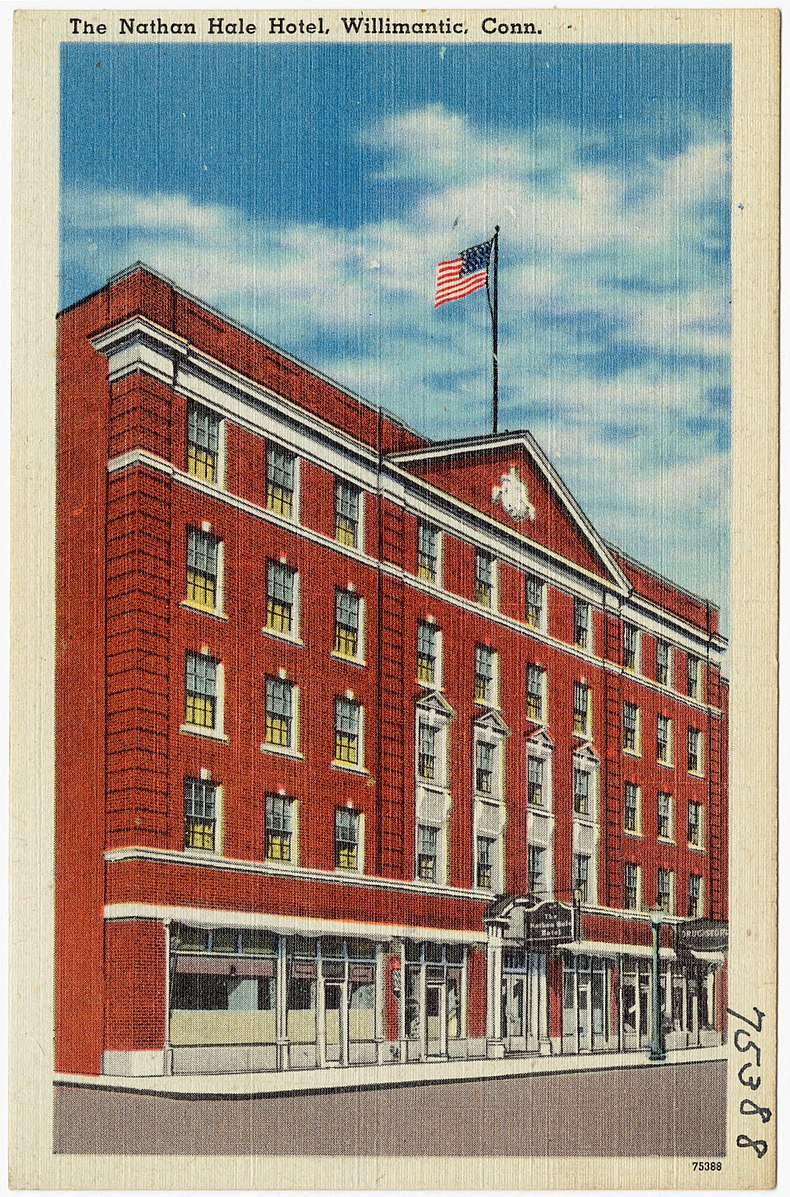 Above, the Nathan Hale Hotel in Willimantic, Conn., in better days. Below, the Hooker Hotel in recent dark days.