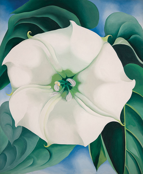 """Jimson Weed/White Flower No. 1 '' (oil on canvas, 1932) by Georgia O'Keeffe, in the show  "" The Beyond: Georgia O'Keeffe and Contemporary Art'' at the New Britain (Conn.) Museum of American Art. This innovative exhibition features more than three dozen of O'Keeffe's most important works alongside 20 contemporary artists that evoke and elaborate upon the iconography of O'Keeffe's career. New Britain is an old factory town in the middle of the Nutmeg State with a surprisingly important museum that was started in the city's salad days."