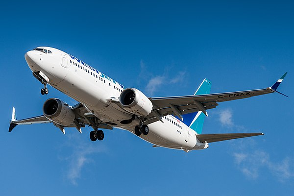 A    WestJet    Boeing 737 MAX 8 on final approach. The model is now grounded.